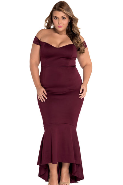 Maroon Beautiful Party Off-Shoulder Mermaid Plus Size EveningDress ...