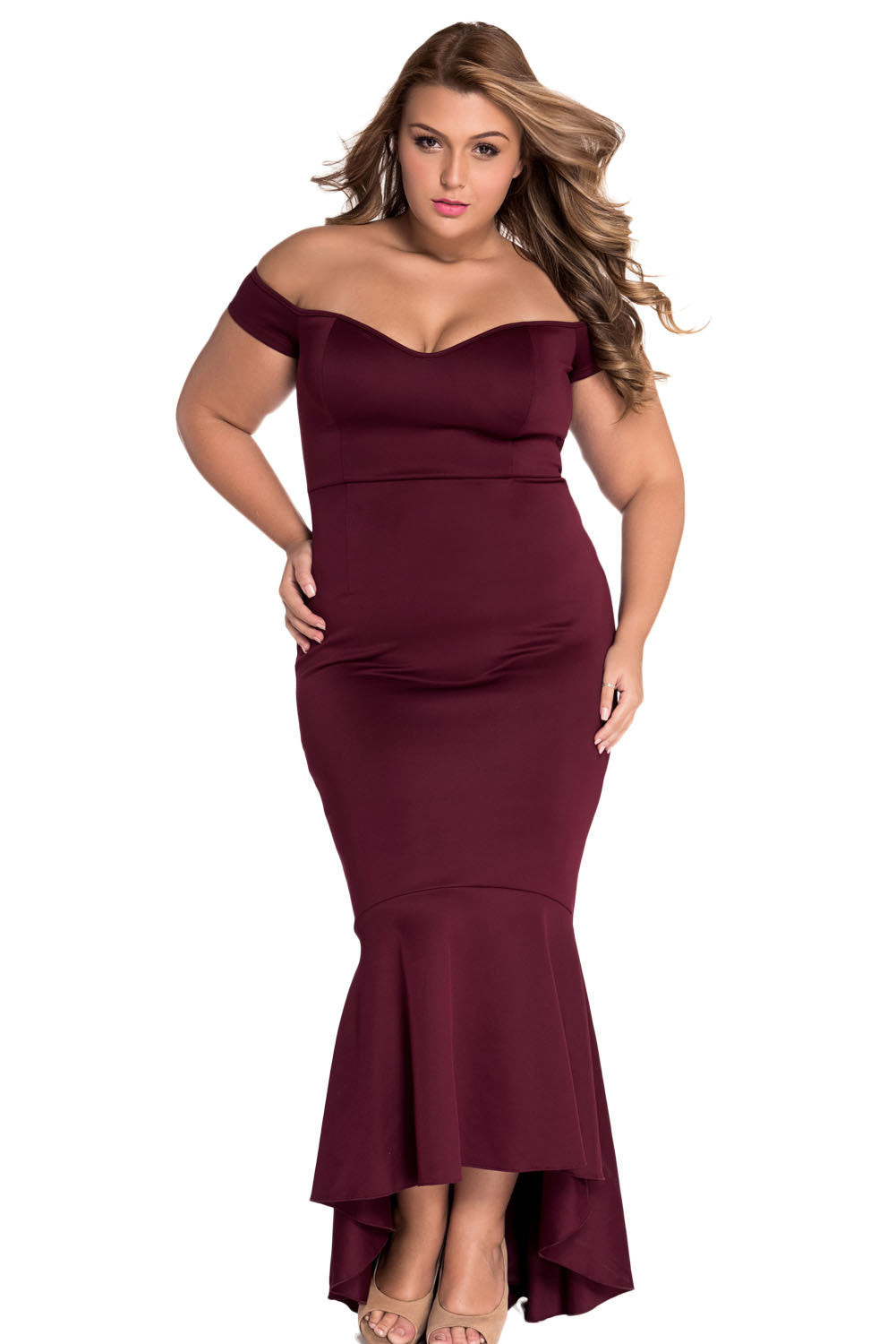 Maroon Beautiful Party Off-Shoulder Mermaid Evening Dress
