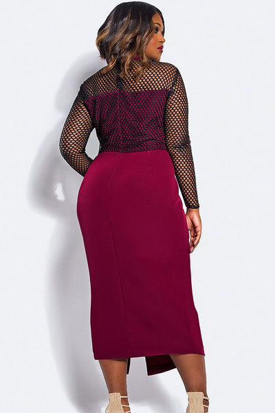 Maroon Stylish Plus Size Fishnet Curvy Midi Dress ShowStopper