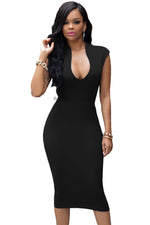 Masterful Fit Black Low V Neck Her Knee Party Dress