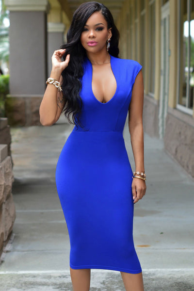 Masterful Fit Royal Blue Low V Neck Her Knee Partydress