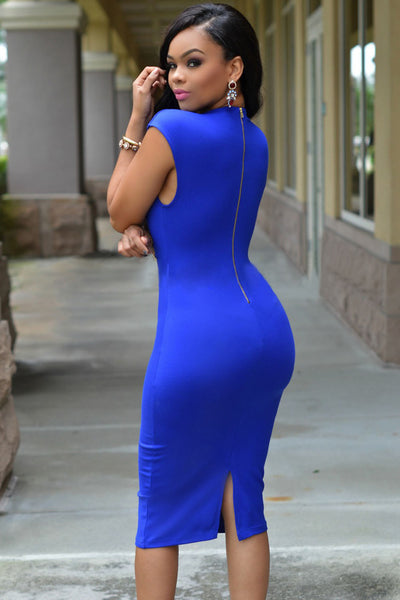 Masterful Fit Royal Blue Low V Neck Her Knee Party Dress