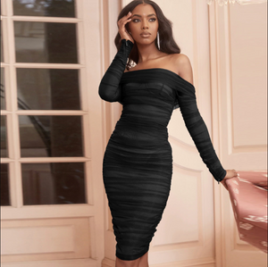 Mesh Bodycon Long Sleeve Off Shoulder Sheer Ruched Womens Dress
