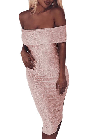 Metallic Pink Sparkle Fold Over Off Shoulder Her Fashion Bodycon Dress