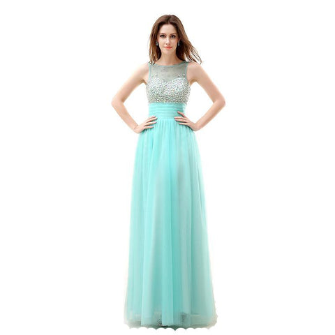 Mint Green Evening Dress Rhinestone Beaded Her Fashion Prom Gown