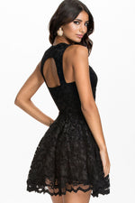 Mod Black Lace Mild Sweetheart Neckline Her Fashion Party Skater Dress