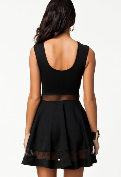Mod Black Scoop Neck Mesh Panel Club Skater Dress