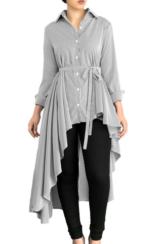 Stylish Grey Striped Lapel Shirt Belted Her Fashion Blouse Top