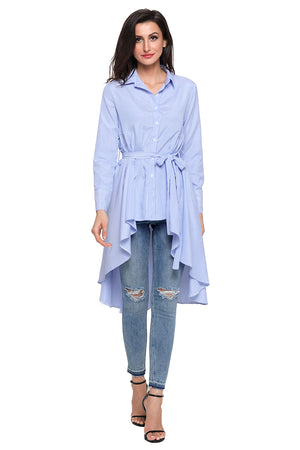 Stylish Blue Striped Lapel Shirt Belted Her Fashion Blouse Top