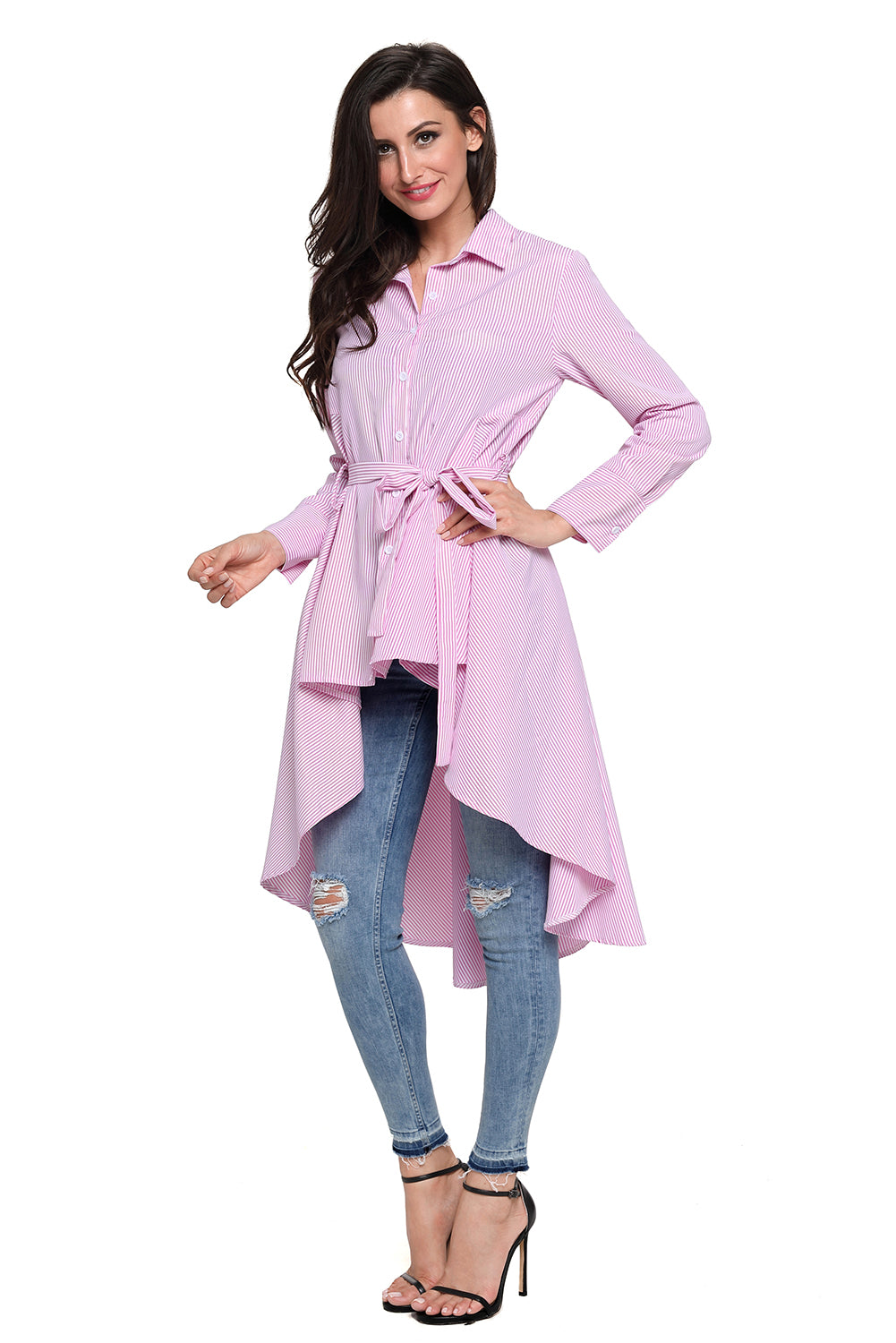 Stylish Pink Striped Lapel Shirt Belted Her Fashion Blouse Top