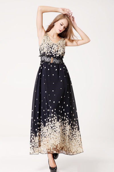 """Mod Series""  Chiffon One-Piece  V-Neck Sleeveless Loose Fit  Bohemian Dress"