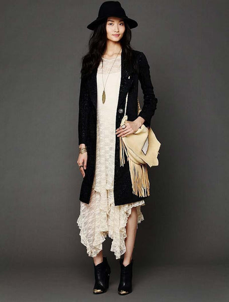 """Mod Series""  Long Sheer Hollow Full Lace Evening Casual Maxi Dress"