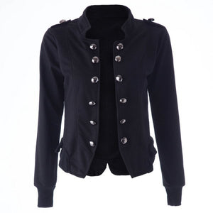 """Mod Series"" Long Sleeves Double-breasted Stand Collar Slit Epaulets Women's Jacket"