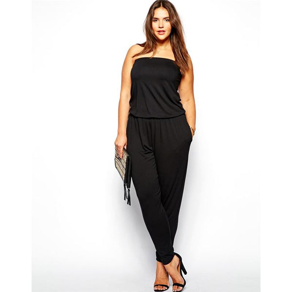 """BignMod Series"" Strapless Jumpsuit Cotton Blend Long Pants Loose Cut"
