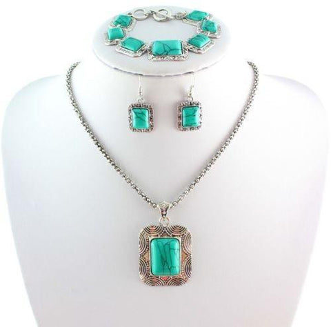 """Mod Series"" Turquoise Vintage Tibetan Silver Rectangle Jewelry Set"