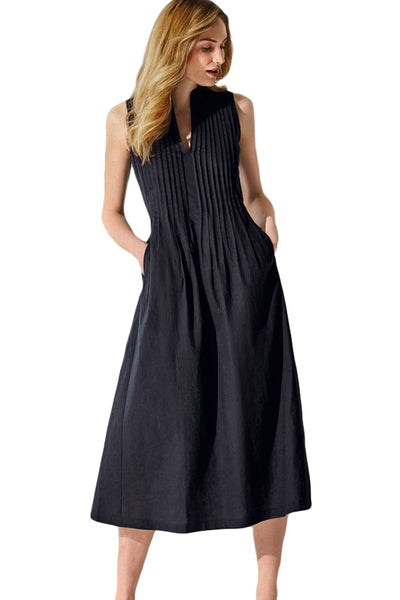 Moderate Black V Neck Pleated Sleeveless Her Fashion Midi Dress