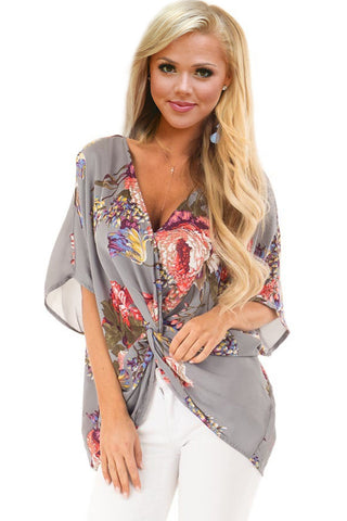 Modern Grey Blouse Floral Pattern Her Fashion Twist Shirt Design Top