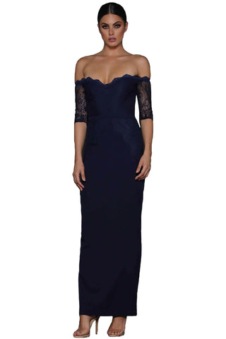 Modern Navy Sheer Lace Sleeve Off Shoulder Her Fashion Maxi Dress