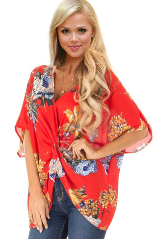 Modern Orange Blouse Floral Pattern Her Fashion Twist Shirt Design Top