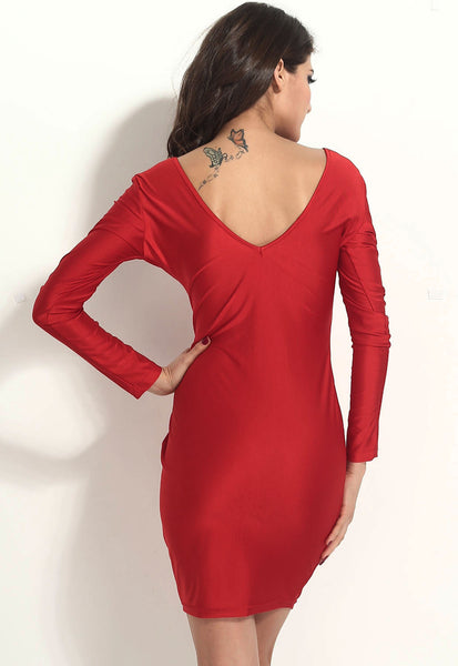 Modern Red Body-hugging Plunging V Neck Midi Dress