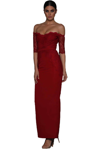 31e50c6f83f Modern Red Sheer Lace Sleeve Off Shoulder Her Fashion Maxi Dress