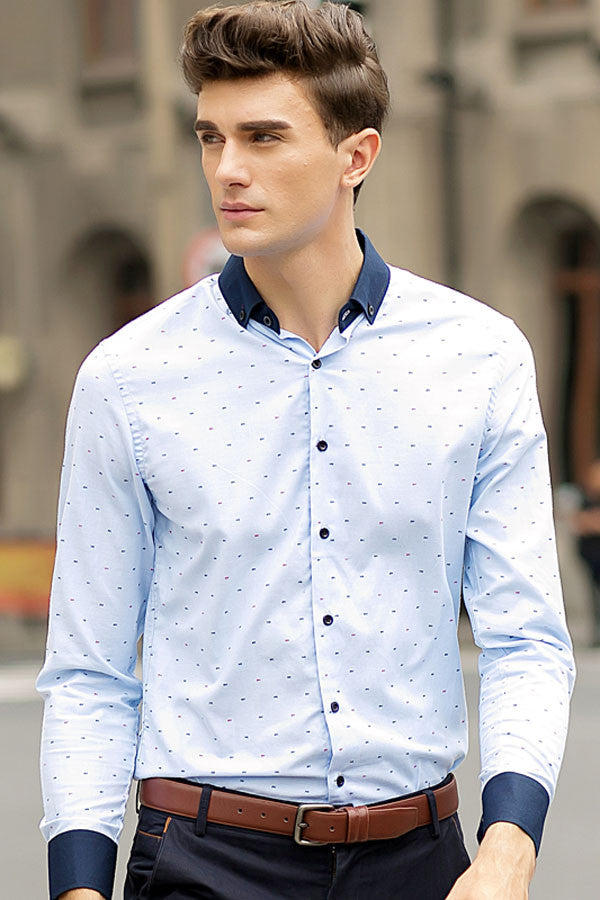 His Fashion Modern Series Men Blue Polka Dot Shirt