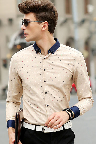 c56bedfba0c His Fashion Modern Series Beige   Khaki Men Polka Dot Shirt ...
