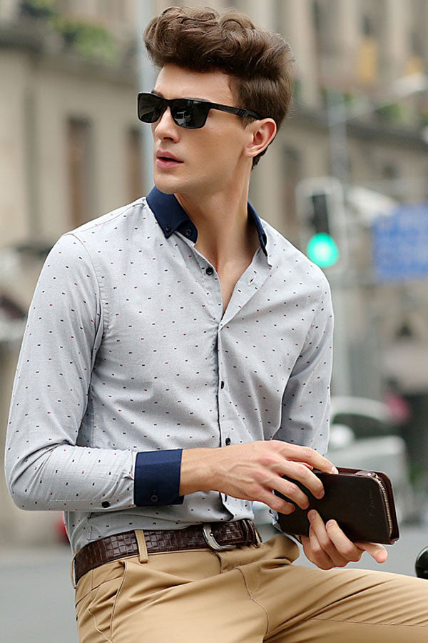 His Fashion Modern Series Men Grey Polka Dot Shirt