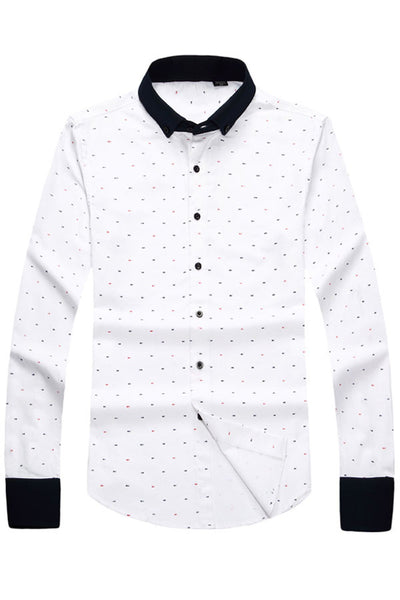His Fashion Modern Series Men Beige / Khaki Polka Dot Shirt