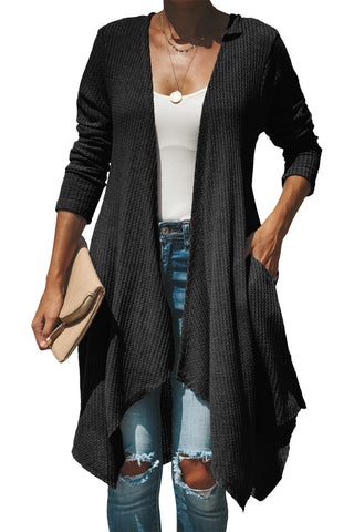 Modern Style Black Open Front Sweater Lightweight Her Fashion Cardigan