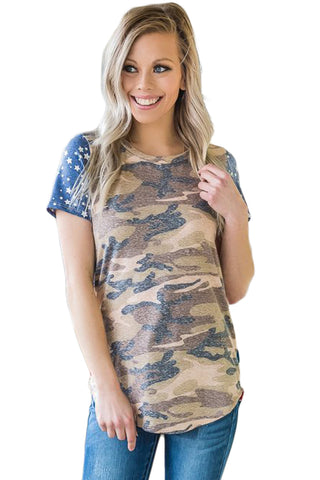 Modern Top Short Sleeve Camo Her Fashion American Flag Tee