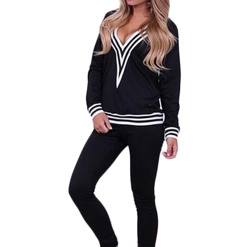 Modern Women Black Casual V Neck Striped Women Tracksuit