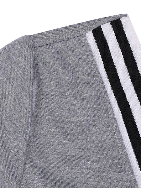 Modern Women Grey Casual V Neck Striped Women Tracksuit