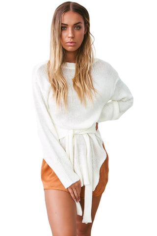 Modern Women White Side Split Belted Her Fashion Pullover Sweater