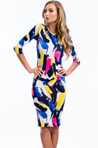 Multi Colorful Graffiti Print Sleeved Bodycon Dress