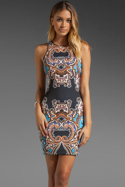 Multicolor Chic Intricate Design Print Dress