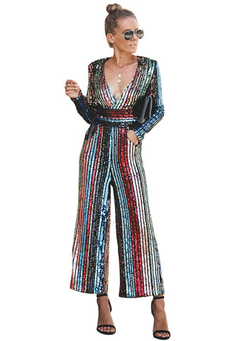 Multicolor Her Fashion Long Sleeves Stunning Pocketed Sequin Jumpsuit