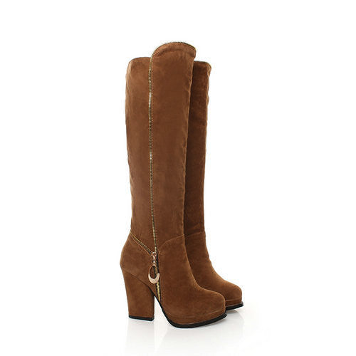 "New Style Nubuck Women Over The Knee High Heel Boots ""Chic Series"""