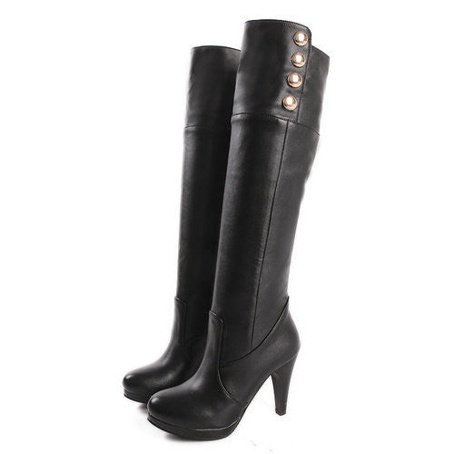 "New Style PU Leather Sexy Knee-High Heel Boots ""Trendy Series"""