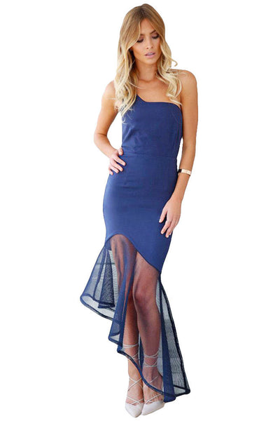 Navy Asymmetrical Fishtail Semi-Sheer Hem Her Maxi Dress