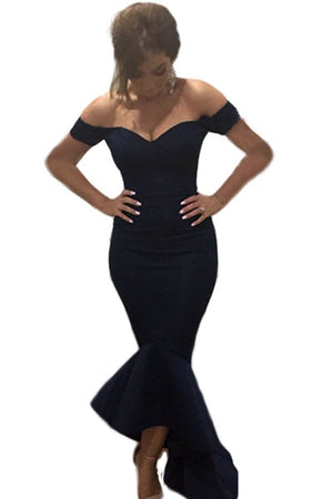 Black Beautiful Party Off-Shoulder Mermaid Evening Dress