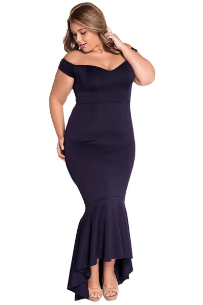 Navy Beautiful Party Off-Shoulder Mermaid Plus Size Evening Dress