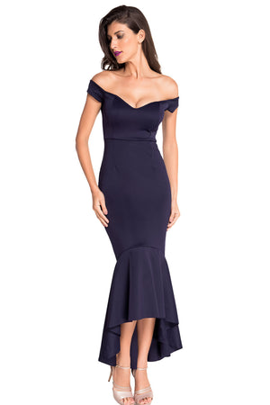 Navy Beautiful Party Off-Shoulder Mermaid Evening Dress