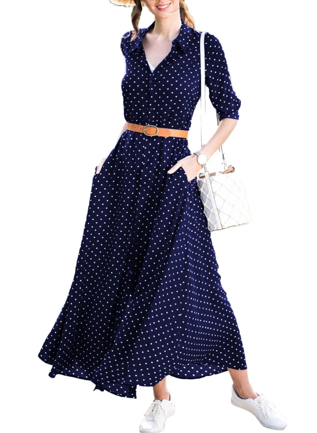 Black Classic Polka Dot Her Stylish Maxi Shirt Dress