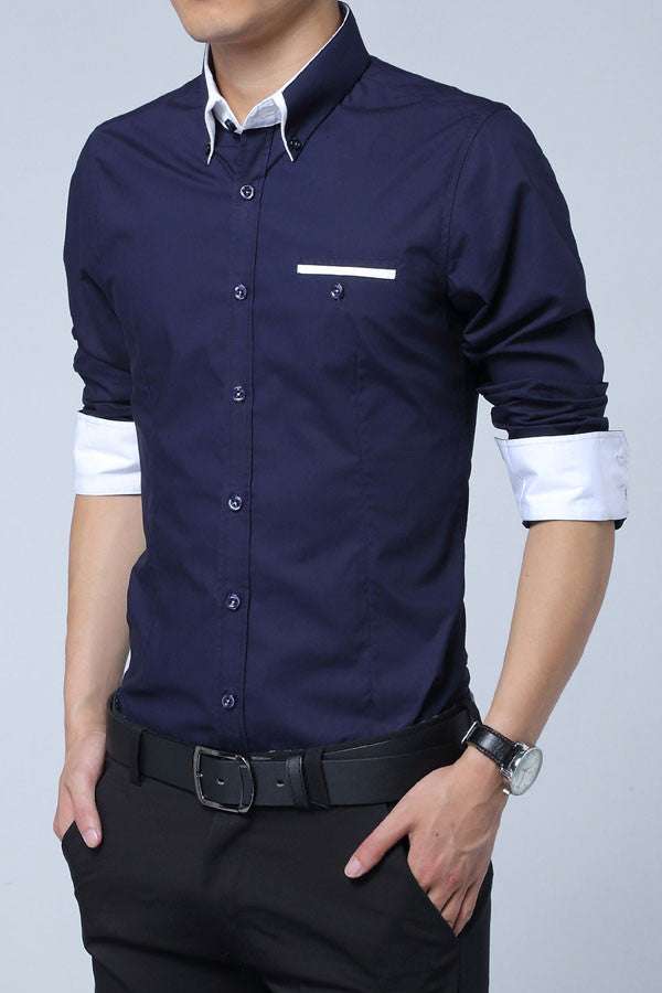 His Fashion Dark Blue Cotton Squared-Off Collar Classic Mens Shirt