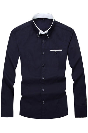 Dark Blue Cotton Squared-Off Collar Classic Mens Shirt
