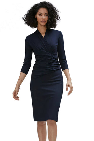 Navy Blue Long Sleeve Pleated Wrap Her Fashion Bodycon Midi Dress