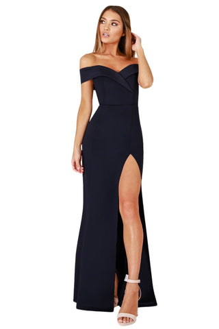 Navy Blue Off Shoulder Sexy and Sweet look Side Slit Evening Dress