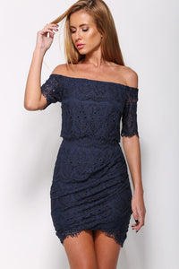 Navy Lace Surcoat Off-shoulder Mini Dress
