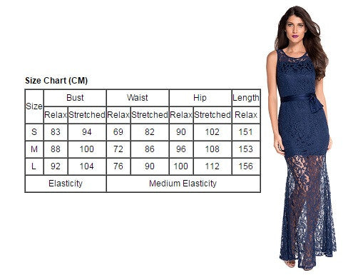 Navy Trendy Floral Lace Satin Patchwork Party Maxi Dress
